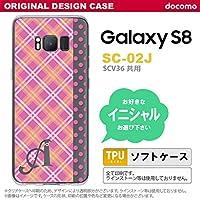 SC02J スマホケース Galaxy S8 ケース ギャラクシー S8 イニシャル タータン・ドット ピンク nk-sc02j-tp1532ini I