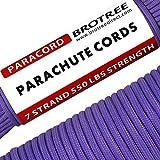 Brotree 4mm パラコード 30m テント ロープ 7芯 パラシュートコード 耐荷重250kg ガイロープ ミルスペック規格 アウトドア キャンプ サバイバル 吹雪強風対策固定 用ひも パープル