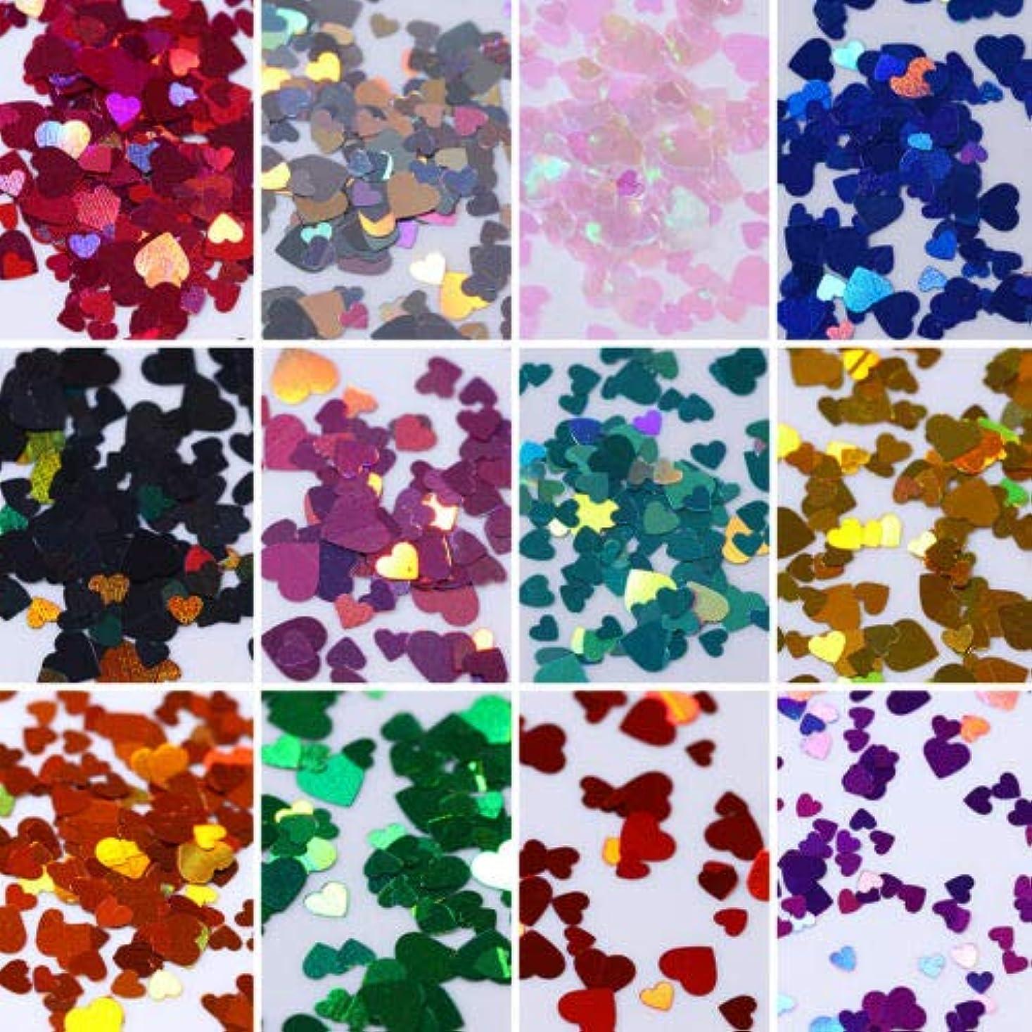 ヶ月目に向かってバストFidgetGear 12箱カラフルなホログラフィックネイルアートグリッタースパンコール虹色のハートフレーク