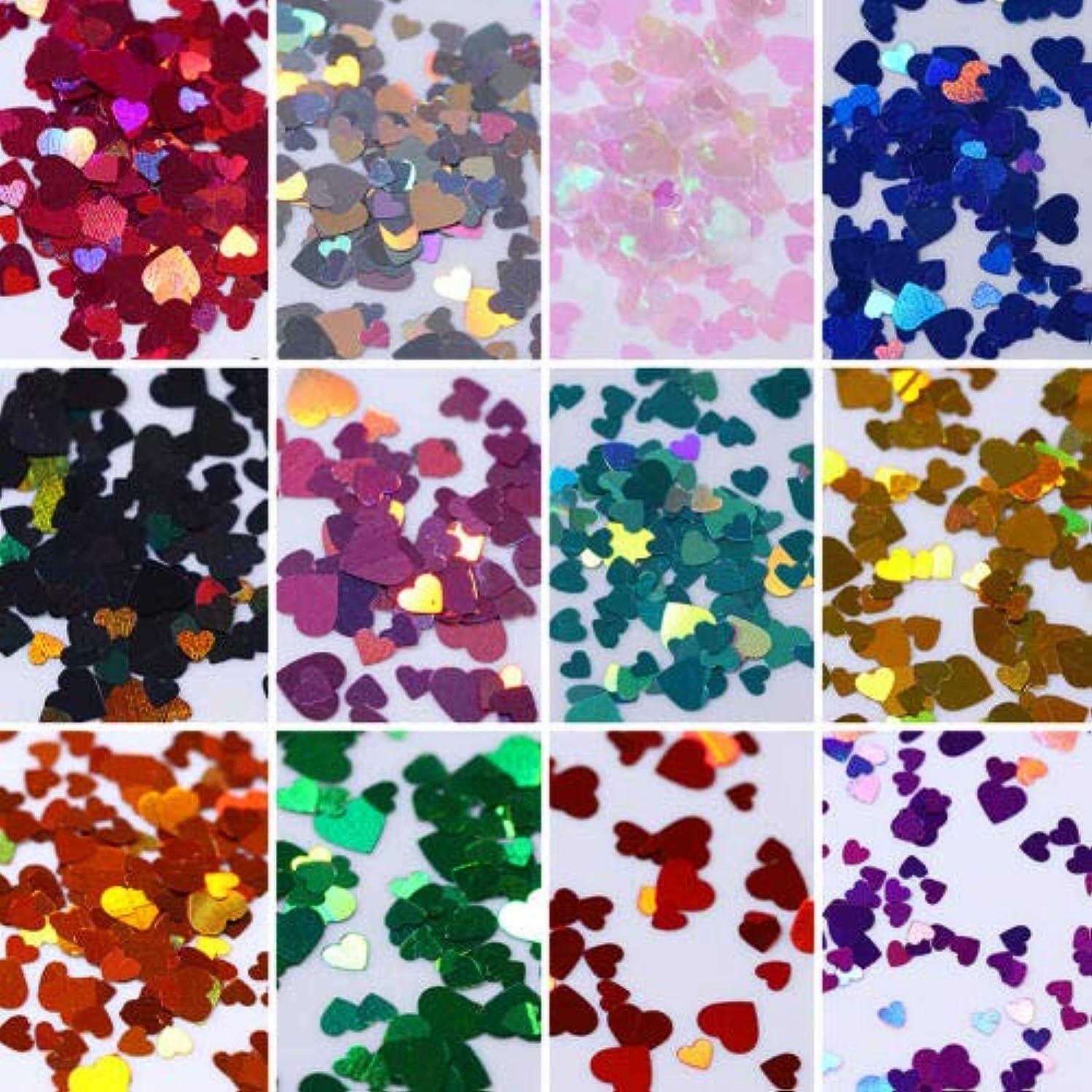 うんざり松明バスタブFidgetGear 12箱カラフルなホログラフィックネイルアートグリッタースパンコール虹色のハートフレーク