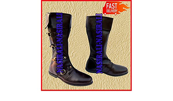 Pure Leather Shoe Mens Boot Costume Boot Medieval Style Long Shoes Black Color