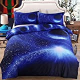 uxcell 寝具カバーセット 銀河 空 コスモ ナイト パターン シングル サイズ 寝具 キルト羊毛セット ロイヤルブルー