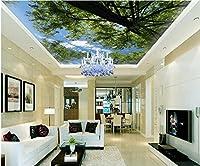 Weaeo 3D壁紙カスタム写真不織グリーンツリー自然の天井の壁画家の装飾の絵画3D壁の壁画の壁紙-350X250Cm