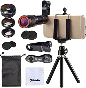 ActyGo (高品質HD12X望遠レンズ付きスマホレンズ4点セット) 正規品 セルカレンズ カメラクリップ式 198°魚眼 12X望遠 0.63X広角 15Xマクロ iphone/Android多機種対応 コンパクトサイズ (ブラック) メーカー1年保証