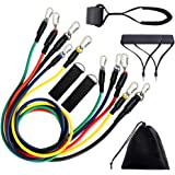 ENVEL Resistance Bands Set,Fitness Stretch Workout Bands Kit with Fitness Tubes,Foam Handles,Door Anchor and Ankle Straps for