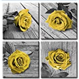 JiazuGo -Multi Panel Canvas Wall Art for Bedroom Home Decoration-Canvas Wall Art Decor- Teal Black and White Rose Floral Pain