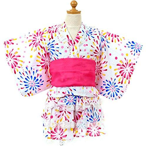 女の子 花火柄 浴衣ドレス ふわふわ帯2本セット【726-264】110cm ホワイト