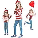 ハロウィン コスプレ ウォーリーを探せ Where's Wally 3点セット 衣装 仮装 コスチューム 子供用 キッズ (M, 子供)