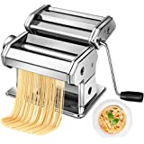 Pasta Maker Machine Hand Crank - Stainless Steel Roller Cutter Manual Noodle Makers Making Tools Rolling Press Kit Kitchen Ac