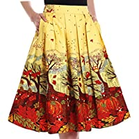 Yige Women's Vintage High Waist Flared Skirt Pleated Floral Print Midi Skirt with Pocket