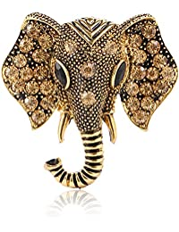 Retro Crystal Elephant Corsage Brooches for Women Dress Accessories