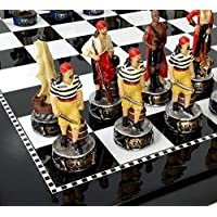Pirates Vs Royal Navy Pirate Chess Men Sett W/ High Gloss Black & White Board