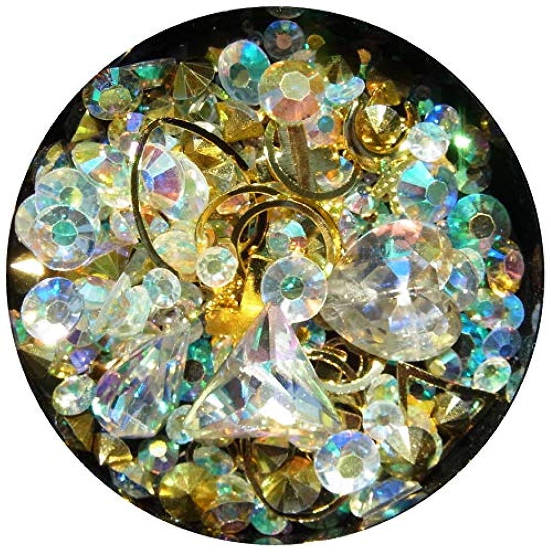 失勝利したサワー【jewel】メタルパーツ ミックス ラインストーン カーブ付きフレーム ゴールド ネイルアートパーツ レジン (11)