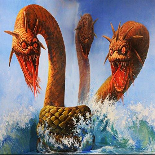 Mbwlkj カスタム3D 部屋の壁紙の写真3Dホラードラゴンヘッド海のヘビ壁の壁画壁紙-400Cmx280Cm