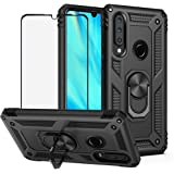 BestShare for Huawei P30 Lite Case & Tempered Glass Screen Protector, Rugged Hybrid Armor Anti-Scratch Shockproof Kickstand C