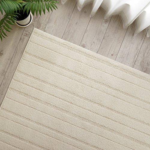 防ダニ 抗菌 防臭 防音 加工 シンプル ボーダー ナチュラル おしゃれ 綿 100% ラグ カーペット 190x190cm 約 2畳 国産 日本製 床暖房 ホットカーペットカバー対応
