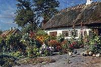 タイル壁画Cottage Garden With Chickens Landscape花by Peder Monstedキッチンバスルームシャワー壁Backsplash止め板6x 44.25インチセラミック、光沢 Four Inch Marble マルチカラー I987__6x4_4iMarb_Tile_Mural