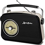Byron Statics Radios Portable Am FM Analog Large Rotary Dial Swivel Good Sensitivity and Audio External Metal Antenna Knob Sw