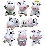Beauy Girl 8pcs Mini Cow Animals Miniature Cow Figurines Fairy Garden Miniature Cattle Farm Figurines DIY Terrarium Crafts Mo