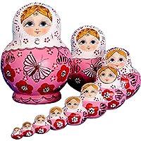 KINGZUO  マトリョーシカ 人形 10層手作り  木製 雑貨 ロシア民芸 木製 飾り 贈り物 手塗り 手描き プレゼント おもちゃ