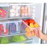 2 Pcs Kitchen Pantry Refrigerator Freezer Storage Container Box with Hinged Lid