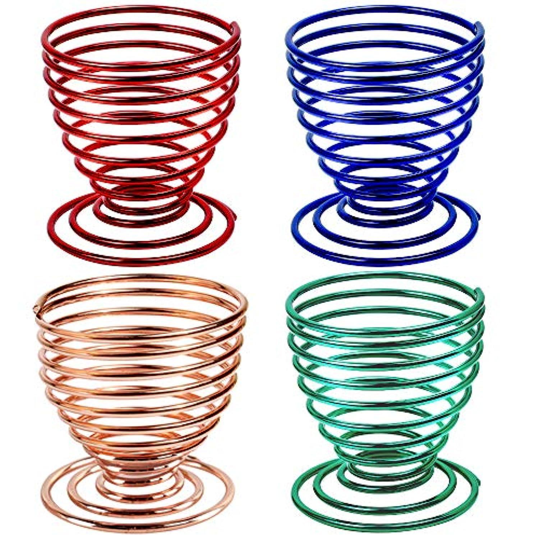 デザイナー唇対応するLEOBRO メイクスポンジスタンド メイクスポンジホルダー 4個セット 化粧用スポンジ置き パフスタンド 螺旋状 ローズゴールド グリーン ブルー レッド 3Dパフスタンド メイクアップ パフホルダー 美容ツール