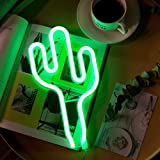 Green Cactus Neon Light Signs LED Cactus Lights Wall Lamp Room Decor Battery/USB Operated Neon Lights Green Neon Signs Cactus