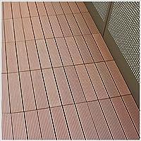 アウトレット 人工木 ウッドデッキタイル 9枚セット (スタイル02, ブラウン)