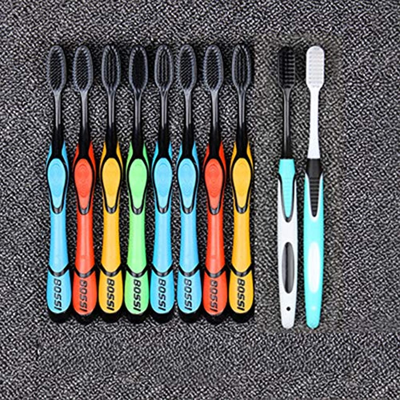 有毒グレード旅行者歯ブラシ 10本のスティック大人歯ブラシ、竹炭柔らかい歯ブラシ、歯をきれいに簡単に、オーラルケア HL (色 : 8+2)