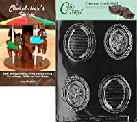 "Cybrtrayd""Oval Rose Pour Box"" Fruits and Vegetables Chocolate Candy Mould with Chocolatier's Guide"