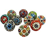 10 Pieces Set Dotted Ceramic Cabinet Colorful Knobs Furniture Handle Drawer Pulls Kitchen Cabinet Puller