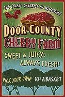 ドア郡、ウィスコンシン–Cherry Vintage Sign 12 x 18 Signed Art Print LANT-34107-708