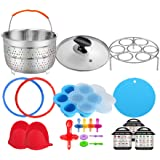 3 Quart Pressure Cooker Accessories Compatible with Instant Pot 3 Qt Only - Steamer Basket, Cloth Cover, Glass Lid, Silicone