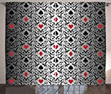 Poker Tournament Decorations Curtains by Ambesonne Card Symbols Ornament Victorian Floral Swirls Pattern Living Room Bedroom Window Drapes 2 Panel Set 108 W X 63 L Inches Silver Black Red【クリスマス】【ツリー】 [並行輸入品]