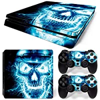 Sony PS4 Playstation 4 Slim Skin Design Foils Faceplate Set - Blue Skull 2 Design