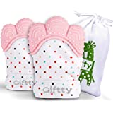 Baby Teething Mittens Self-Soothing Pain Relief Mitt, Stimulating Teether Toy, Prevent Scratches Protection Glove with Travel