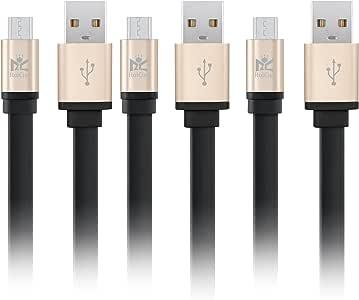 【3本セット】RoiCiel Micro USBケーブル【高耐久きしめんタイプ】 急速充電 高速データ通信 Xperia、Nexus、Samsung、Android 各種、その他USB機器対応RC-FRMI_2 (0.2M+1M+2M 3種人気長さ各1本入, きしめんタイプ(Micro))