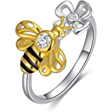 LONAGO 925 Sterling Silver Bee Ring with Flower 5A Cubic Zirconia Yellow Gold Bee Stacking Ring for Women