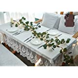 LITBLOOM Lighted Eucalyptus Garland 6FT 48 LED Battery Operated with Timer Artificial Greenery Twig Vine Lights for Wedding P