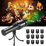 SENDOW プロジェクターライト LED 投影ランプ 三脚付き 投影フィルム 12枚セット USB充電