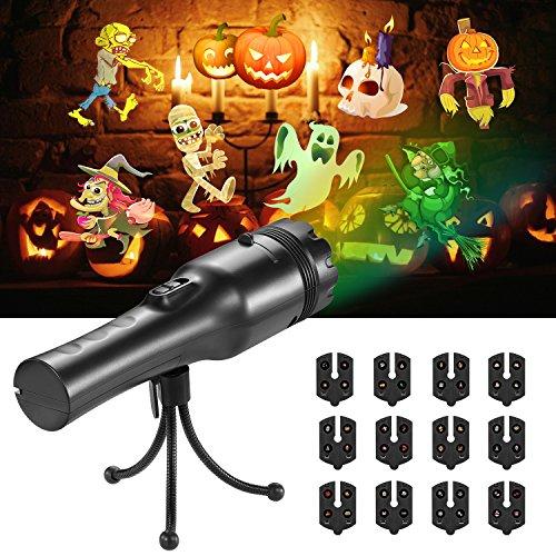 SENDOW 投影ランプ LED プロジェクションライト 高輝度 12フィルム プロジェクターライト クリスマス ベッドサイドランプ 懐中電灯 雰囲気作り ハロウィン 誕生日 子供の日 室外室内 赤ちゃん USB充電