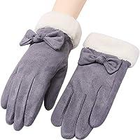 CASEETO 手袋 てぶくろ グローブ 女性用 レディース 通勤 通学 手袋 防寒 暖かい ファー付きリボン手袋 プレゼント 冬 秋 かわいい おしゃれ 手袋 滑り止め付き タッチパネル対応