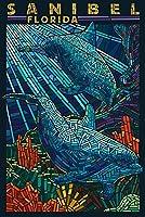 サニベル、フロリダ州–Dolphins用紙モザイク 24 x 36 Giclee Print LANT-44391-24x36