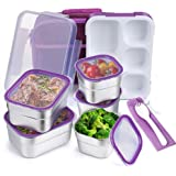 DaCool Kids Lunch Box Bento Stainless Steel Containers Leak Proof for Toddler Adult School Lunch Container 5-Compartment with