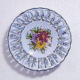ポルトガル製 アルコバッサ 飾り皿 手描き ブルー 花柄 アズレージョ 絵皿 30cm pfa-476bl