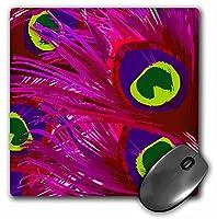 3drose LLC 8x 8x 0.25インチベクトルピーコックフェザーでホットピンクとライムマウスパッド( MP _ 26437_ 1)