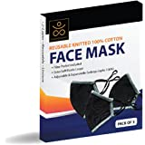 Samadhaan Face Mask - Reusable Cotton 2 Layer Unisex Face Mask - Pack Of 3 Black
