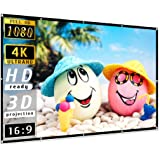 Projector Screen 100 inch, Taotique 4K Movie Projector Screen 16:9 HD Foldable and Portable Anti-Crease Indoor Outdoor Projec