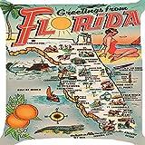 クッションカバーThrow枕ケース18インチレトロヴィンテージフロリダマップSightseeing Tourサイトビーチ海クルーズFruits Sunshine Vacation両側イメージジッパー