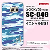 SC04G スマホケース Galaxy S6 edge カバー ギャラクシー S6 エッジ イニシャル 迷彩B 青B nk-sc04g-1168ini Z